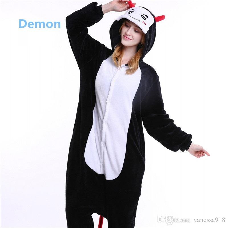 Fashion Cute Black Demon Onesies Unisex Women Pajamas Set Men Animal Cartoon Bat Design Cosplay Costume Onesie Sleepwear MX-011