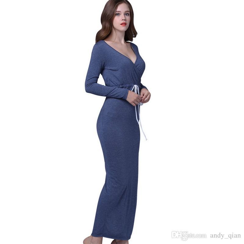 Women Pure Color Long Sleeves Dress Deep V-Neck Solid Colors Slim Elegant Split Dresses Ladies Casual Shrink Waist Trend Dress