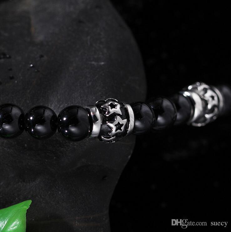 71cm * 8mm Schwarz Glas Bead Gliederkette 316L Edelstahl Lion Anhänger Halskette w / Black Strass Herren Schmuck
