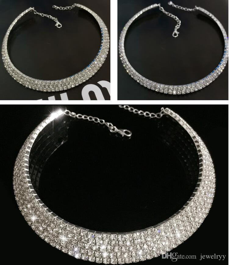 Luxury Bridal Wedding Jewelry Multi Layer Crystal Rhinestone Choker Necklace Shinning Collar Necklaces for Women Party