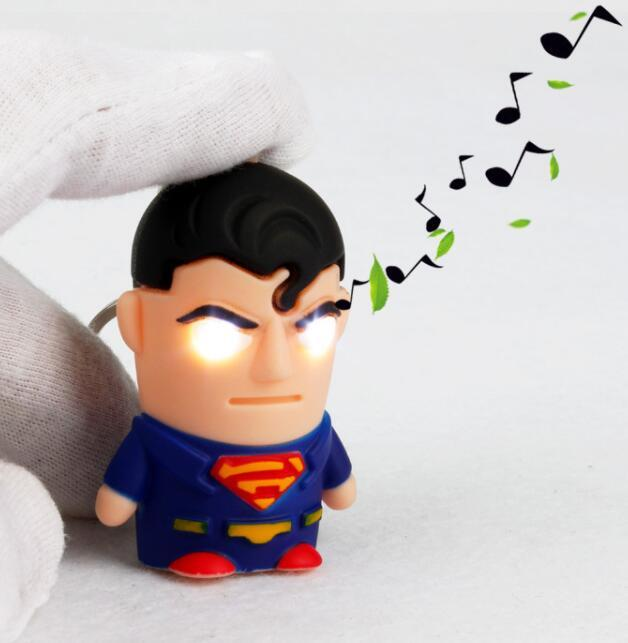 Wholesale Sound avengers alliance superman returns keychain Led key chains creative gift Car keychain
