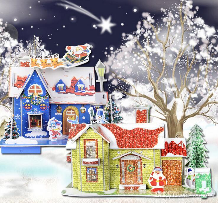 2018 educational 3d jigsaw puzzles diy snow house at christmas novelty paper construction toy puzzles for kids in stock from the_one 243 dhgatecom