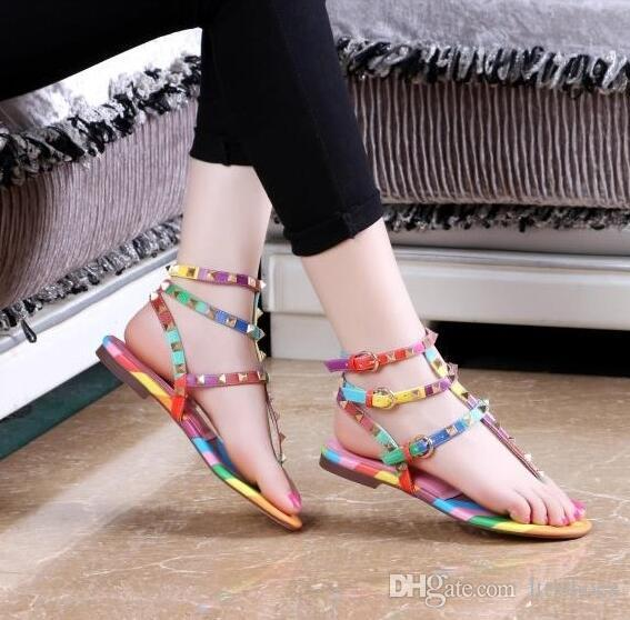 ea89c34a1a6288 Womens Sandals Multi Layers Strappy Spikes Rivets Studs Thong Clip Toe Ankle  Strap Flat Sandals Rainbow Striped Mixed Color Saltwater Sandals Designer  Shoes ...