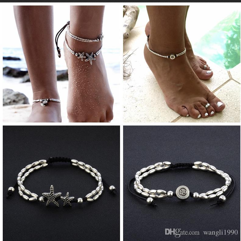 with fullxfull ghqw blue lotus zen ankle charm buddhist yoga il wrapped symbol cord bracelet products silver anklet
