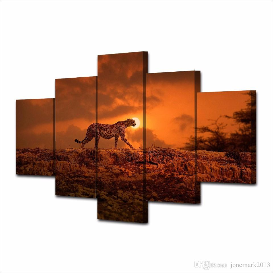Framed HD Printed Sunset Sky Animal Leopard Picture Wall Art Canvas Print Room Decor Poster Canvas Modern Oil Painting
