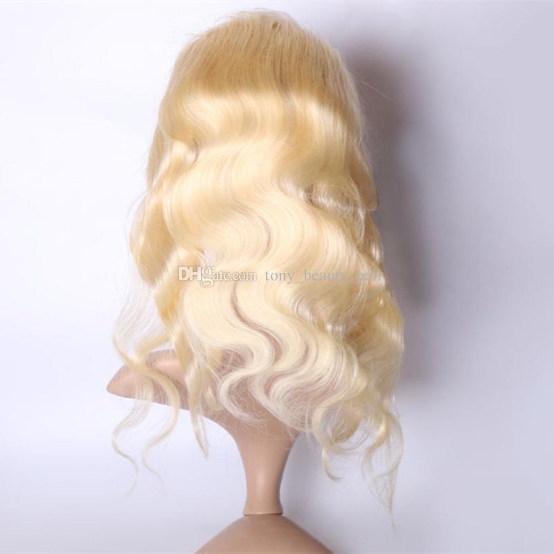 Peruanische Blonde Menschenhaar 3 Bundles Mit 360 Spitze Frontal Verschluss Körperwelle # 613 Reine Brasilianisches Haar Mit Spitze Band Frontals 4 Stücke viel