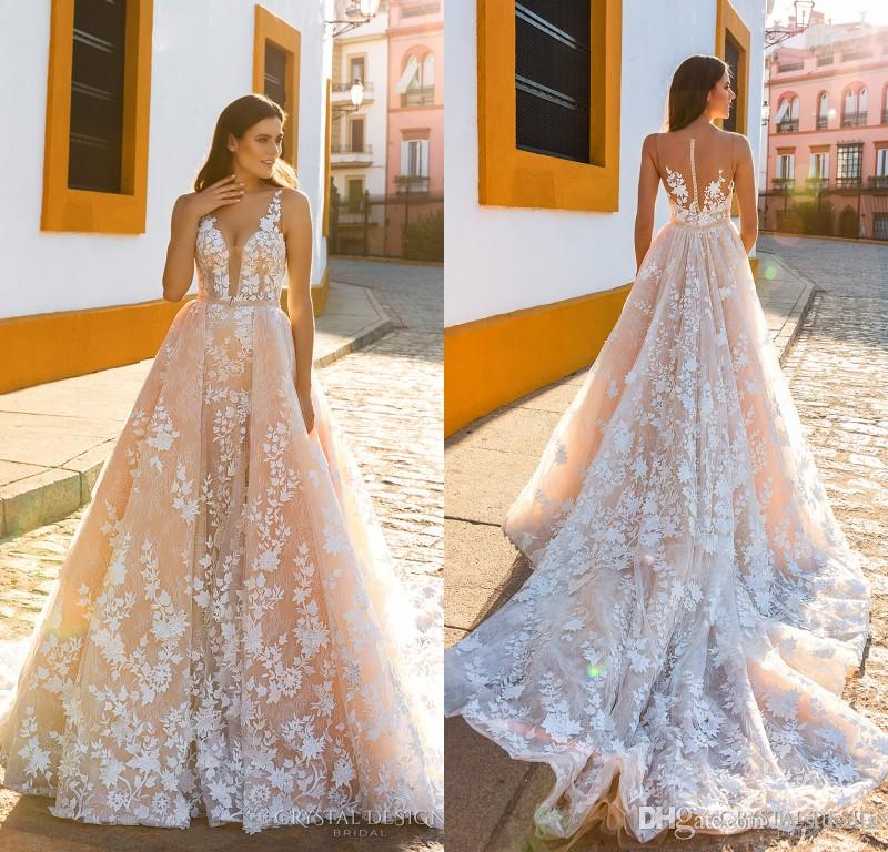 Crystal Design 2019 spalline da sposa senza spalline profondo profondo Abbellimento completo Blush Color A Line Abiti da sposa Sheer Back Royal Train
