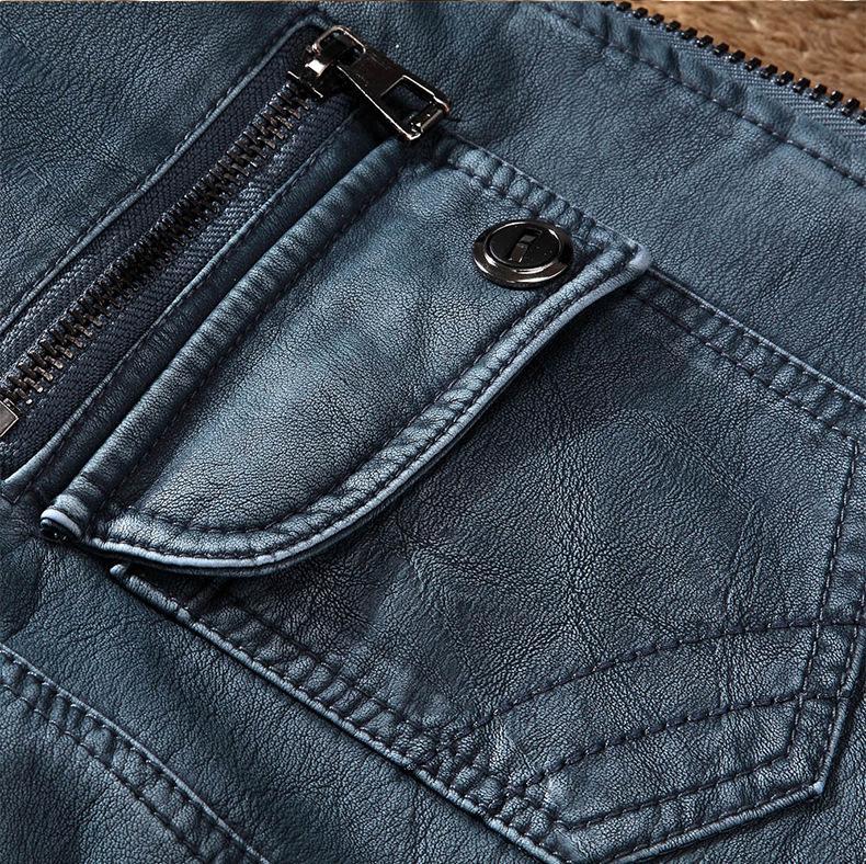 Marque Designer Hommes Manteau Veste en cuir mode col montant Slim Fit épais Polaires homme Vestes d'Automne Hiver