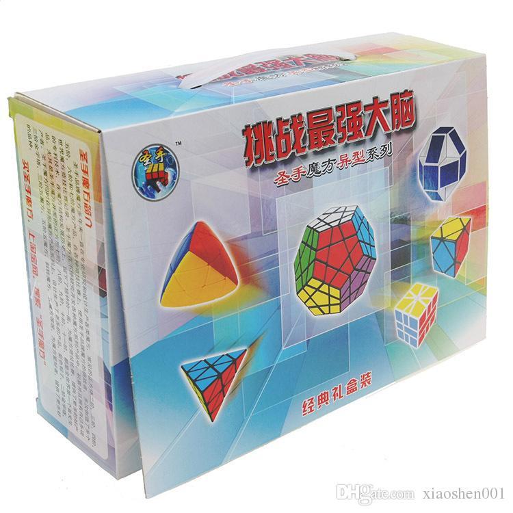 6 шт. / Компл. Shengshou Белое Основание Странной формы Magic Cube Скорость Твист Головоломки Bundle Pack Cube PVCMatte Наклейки Cubo Magic Puzzle
