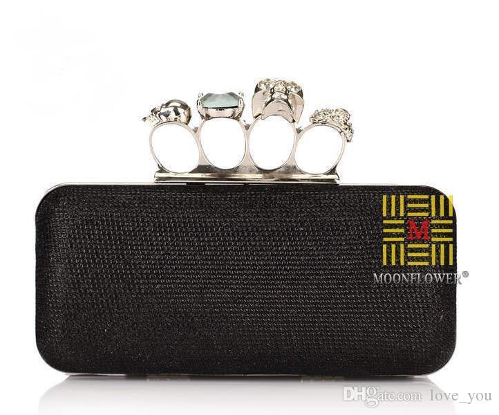 Neue Strasssteine Frauen Clutch Taschen Diamanten Fingerring Braut Handtaschen Kristall Hochzeit Braut Handtaschen Geldbörse Taschen Halter