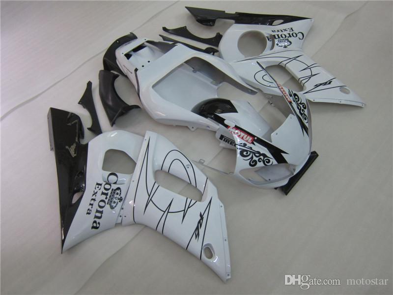 Lower price moto part fairings for Yamaha YZF R6 98 99 00 01 02 classical white black fairing kit YZFR6 1998-2002 OT49
