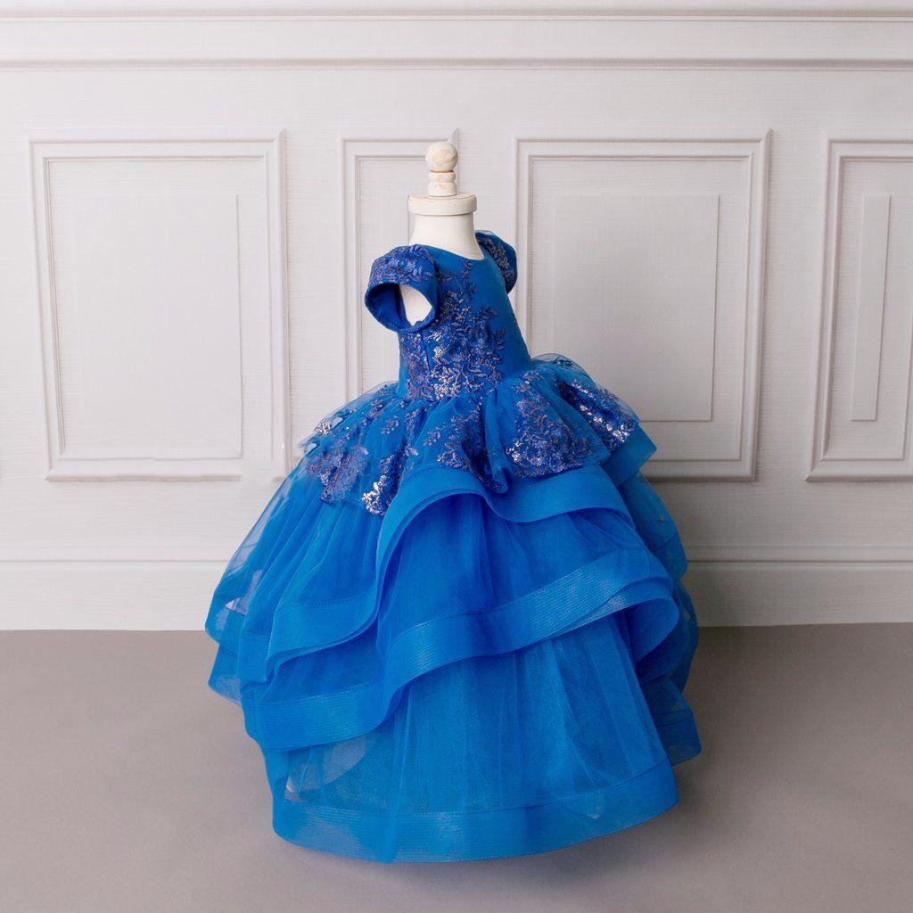Cute Blue Birthday Graduation Gown Children Short sleeves Jewel Neckline Toddler Pageant Prom Dresses Custom Made Flower Girl Dress