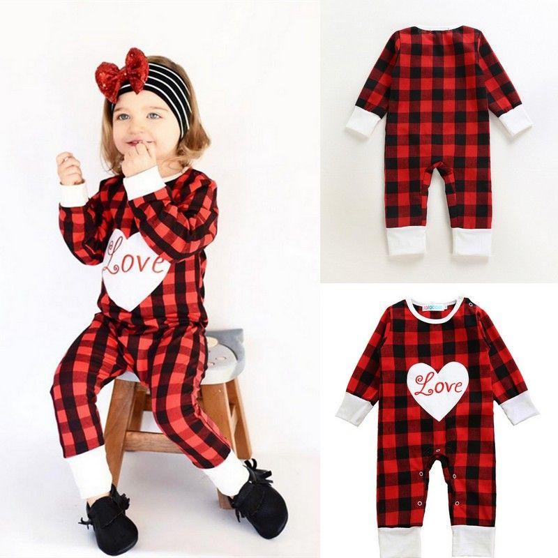 b56273f3b Baby Girls Autumn Red Plaid Heart Romper Infant Love Letter ...