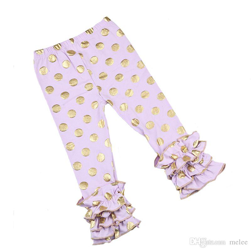 Baby ruffled leggings Kids Girl cotton gold polka dot pants Soft Solid printing gold Trousers all seasons