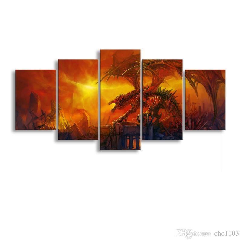 Acheter 5 Panneau Feu Dragon Peinture Toile Mur Art Image Décoration De La  Maison Salon Impression Sur Toile Moderne Peinture Grand Toile Art Pas Cher  SD ...