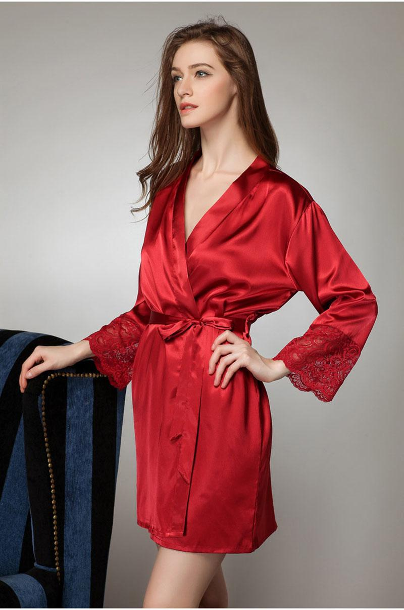 a5be39e1b8 2019 Wholesale Plus Size Sexy Satin Robe For Women Sexiest Lingerie  Nightwear Bathrobe Silk Robe Women Roupao De Banho Nightgown From Pamele