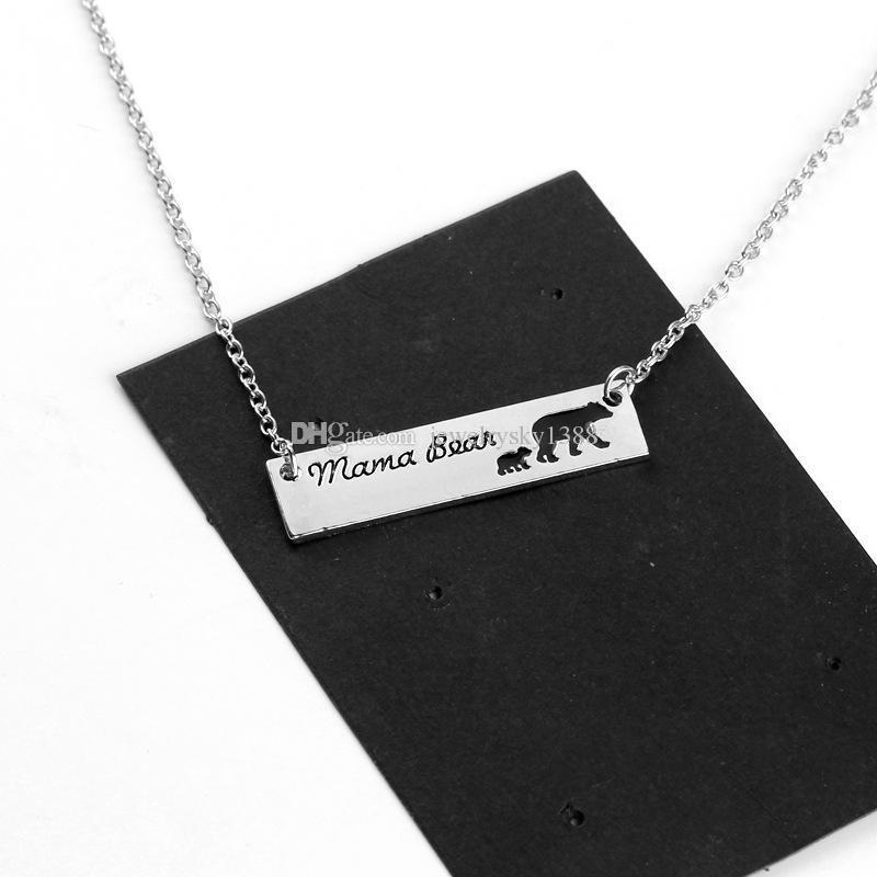 Новый мама медведь Baby Bear ожерелье Серебряный бар кулон цепи мать и дочь Любовь ювелирные изделия для женщин дети