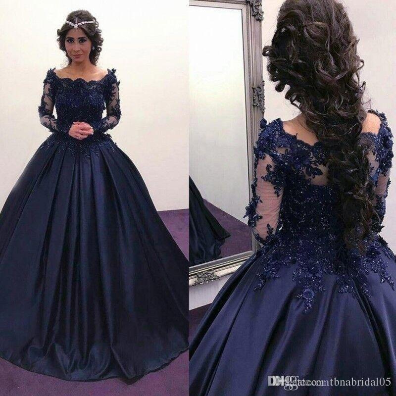 Venda quente azul marinho vestido de noite apliques de renda mangas compridas vestido de baile vestido de baile formal vestido de noite Vestido De Festa Com Flores