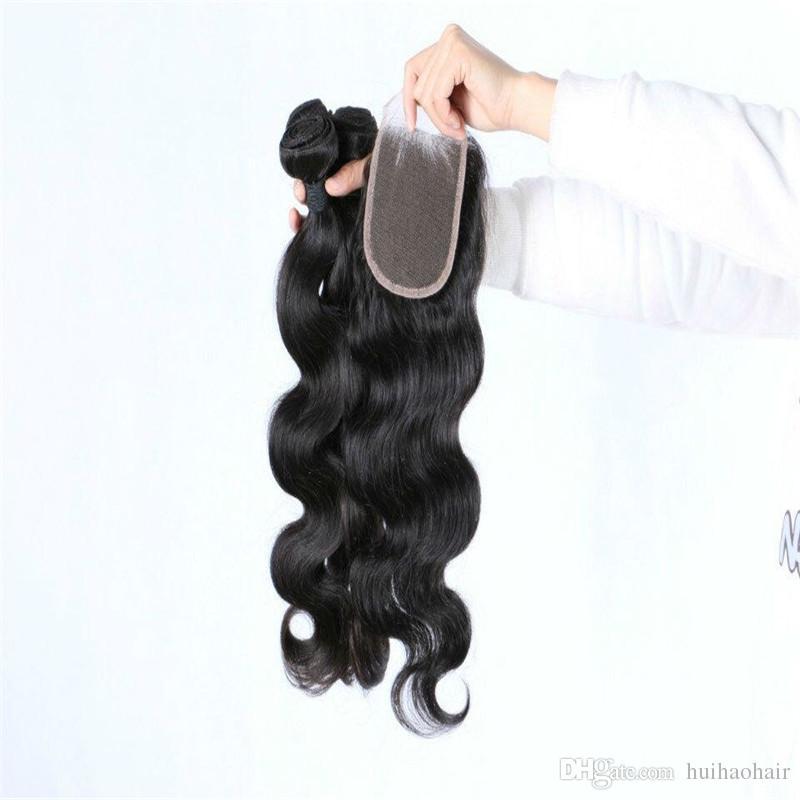 Capelli peruviani dell'onda del corpo con i pacchi dei capelli umani della chiusura con la chiusura, capelli ondulati peruviani con chiusura Totale lotto