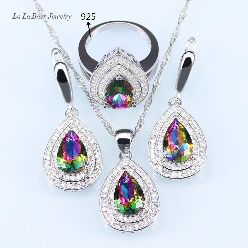 LB Doğal Mistik Gökkuşağı Zirkon 925 Logo Gümüş Renk Takı Seti İçin Kadınlar Düğün Küpe / kolye / kolye / Yüzük