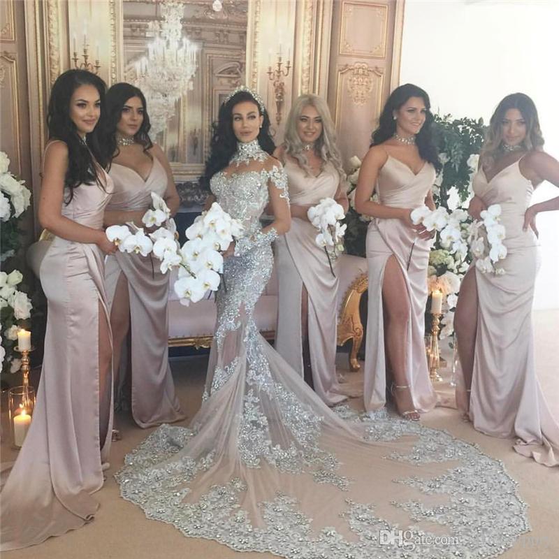 Robe de mariée sirène de luxe étincelante 2020 Sexy pure Bling Perles Dentelle Applique Col Haut Illusion À manches longues Champagne Trompette Robes de mariée