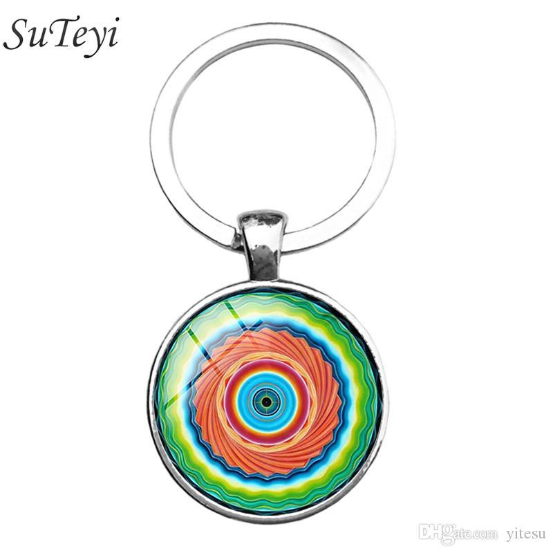 Mandala Key Kette Heilige Geometrie Keychain Schmuck handgemachte Kunst Glas Anhänger Schlüsselanhänger Schlüsselanhänger für Frauen Neue 2017 Geschenke