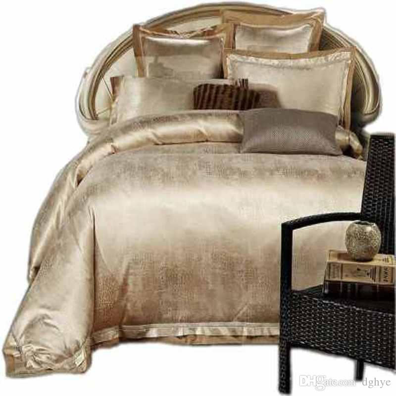 Charmant Wholesale Gold/White/Blue Jacquard Silk Bedding Set Luxury Satin Bed Set  Duvet Cover King Queen Bedclothes Bed Linen Sets 16 Design Silver Bedding  Queen ...