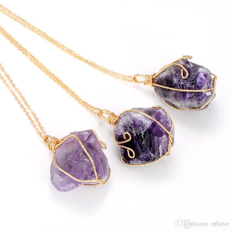New Natural Stone Crystal Quartz Healing Pendant Necklace Chakra Gemstone Ore Irregular Amethyst Crystal White Crystal Twisted Wire Necklace