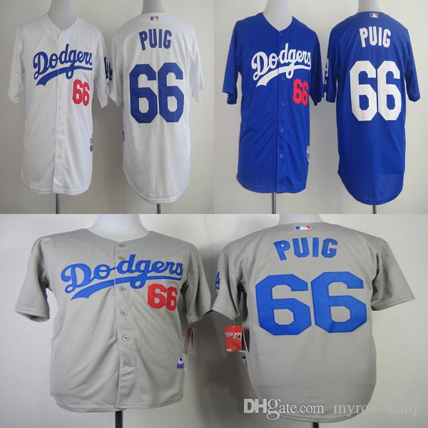 ... 2017 men los angeles dodgers 66 yasiel puig white gray blue baseball  jerseys adult size from cffb2f602