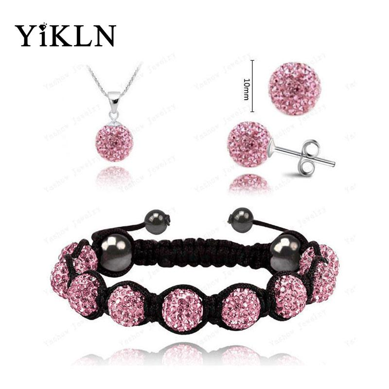 YiKLN Factory Price Fashion Austrian Crystals Sets 10MM Disco Ball Beads Bracelet & Earrings & Necklace Jewelry For Girl SHSE21