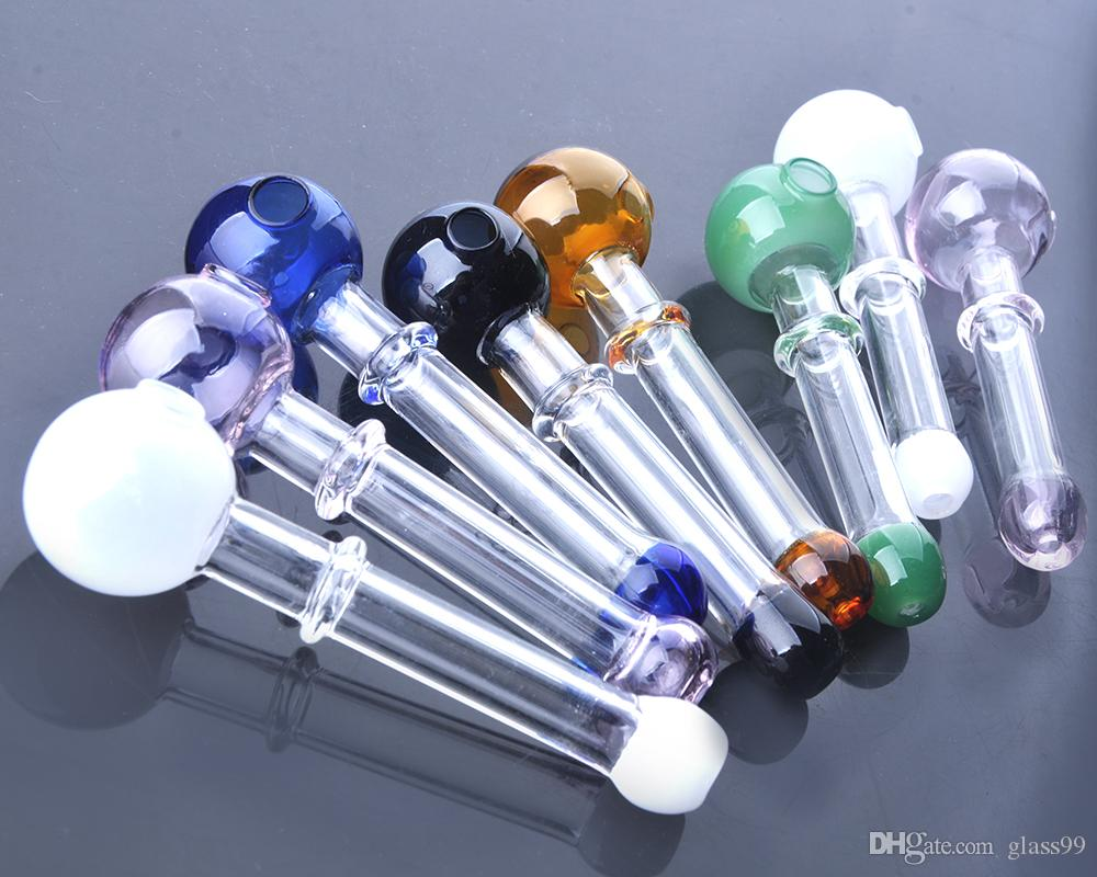 Glass oil burner pipe Short Colored Mini Smoking Handle Pipes smoking pipes High quality IN STOCK