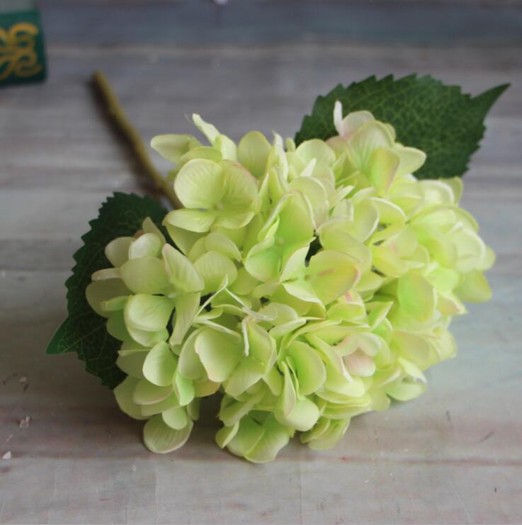 Artificial Hydrangea Cabeza de Flor 47 cm Fake Silk Single Real Touch Hydrangeas es para Centros de Boda Home Party Flores Decorativas