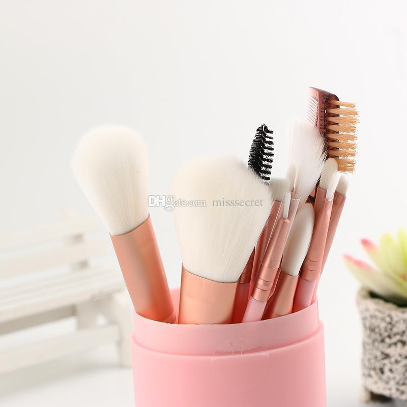 Rosa Make-up-Pinsel für Fundamentpulver Lidschatten Eyeliner Lippe Highlighter Kosmetische Bürstenwerkzeuge Make-up Pinselset mit Kunststoffkiste