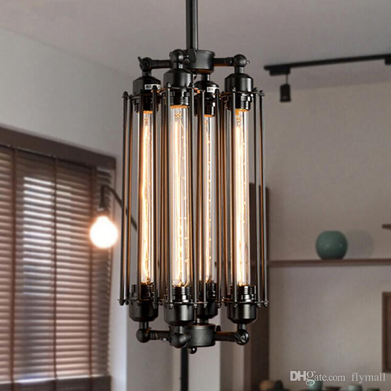 Edison Vintage Flute Pendant Lamp Loft Wrought Iron Chandeliers Dining Room Retro Bulb Hanging European Indoor Lighting Fixture