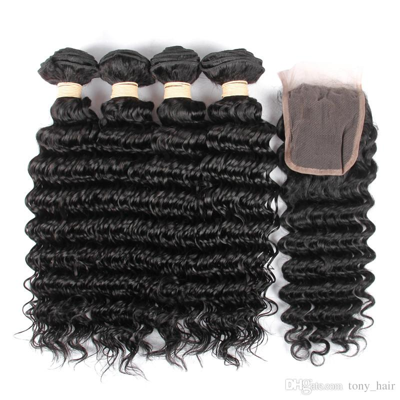 Brazilian Virgin Hair Weaves With Lace Closure Deep Wave Human Hair 4 Bundles With Closure Brazilian Deep Curly Hair Extension