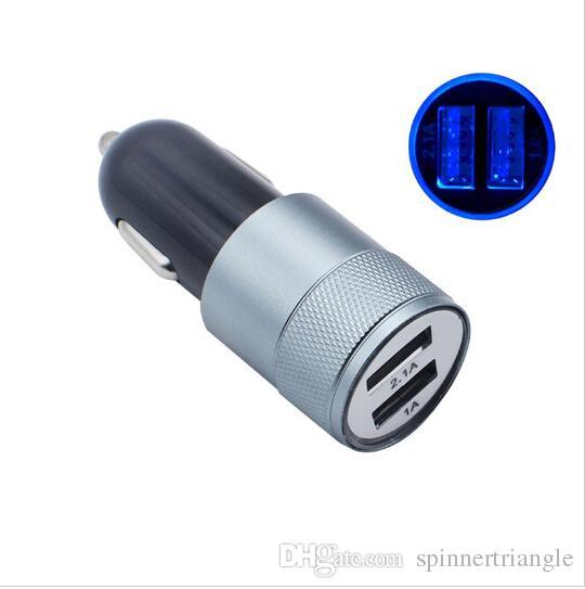 BRAND NOKOKO Best Metal Dual USB Port Car Charger Universal 12 Volt / 1 ~ 2 Amp for Apple iPhone iPad iPod / Droid NokiaDHL