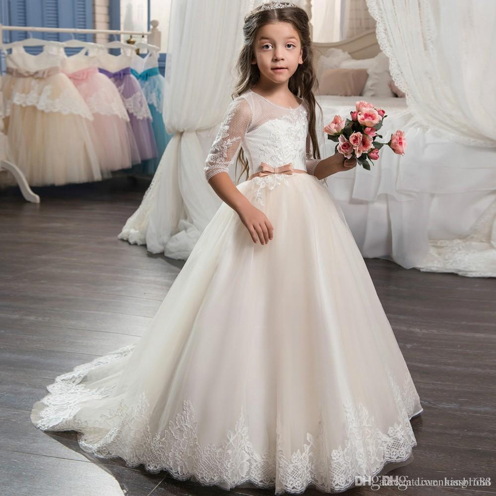 1239b77e16b Cream Lace 2017 Flower Girls Dresses Long Sleeves Beading Crew Neck Lace Up  Back Gorgoues Sweep Train Formal Dress For Wedding Girls Flower Girl Dresses  ...