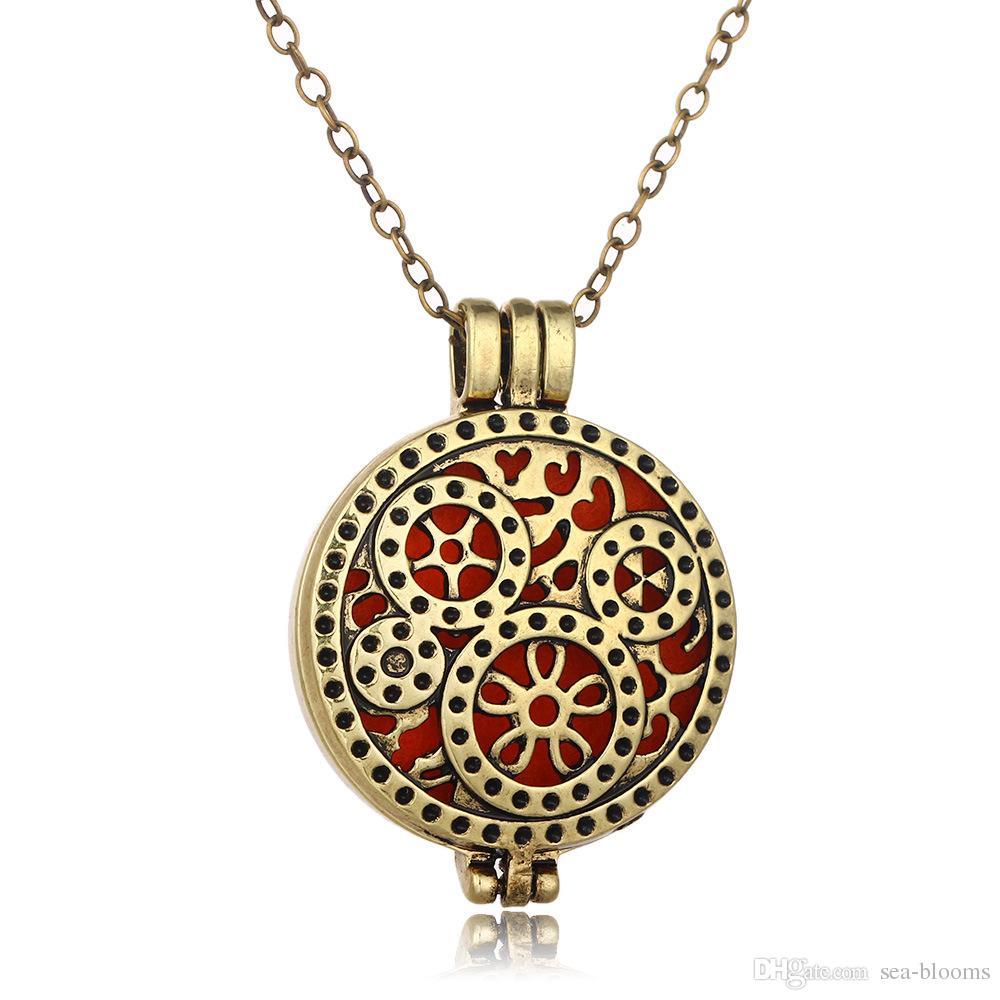 Clockwork Clock Gear avec pendentif de diffuseur d'huile essentielle de bijoux de diffuseur d'Aromatherapy inclut des plaquettes de recharge réutilisables B417Q