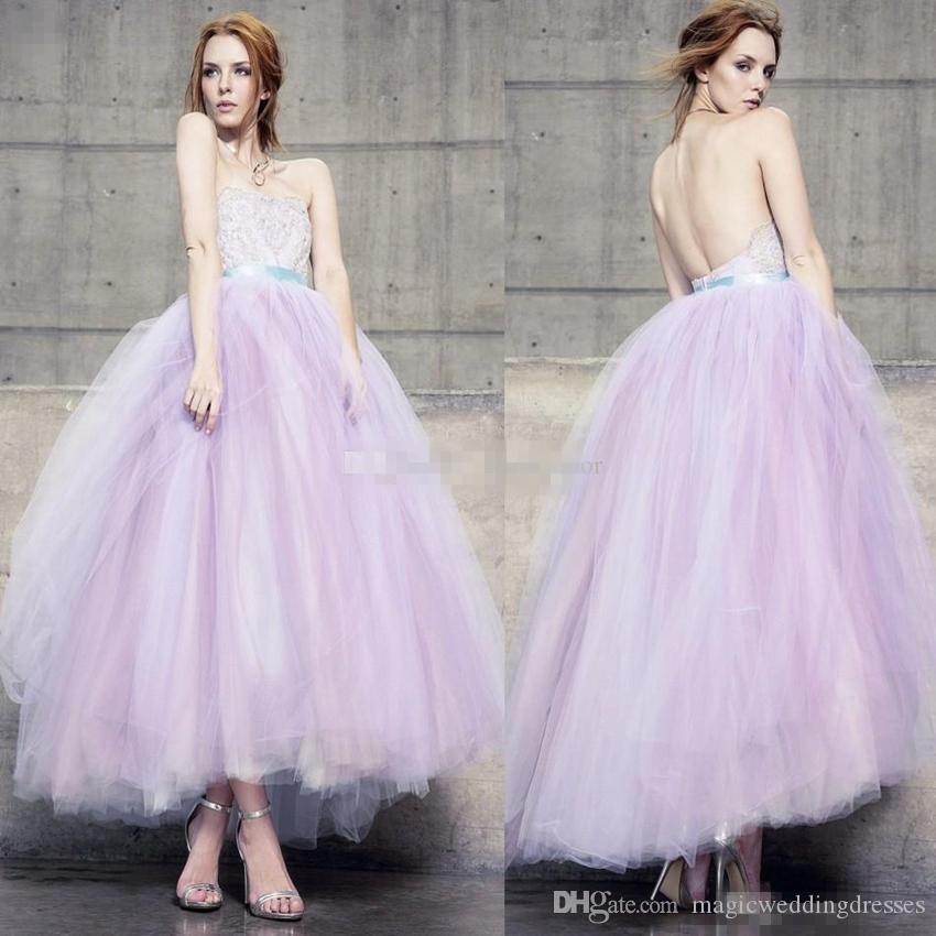 Adorable Lilac Backless Ball Gown Prom Dresses 2017 Appliqued ...