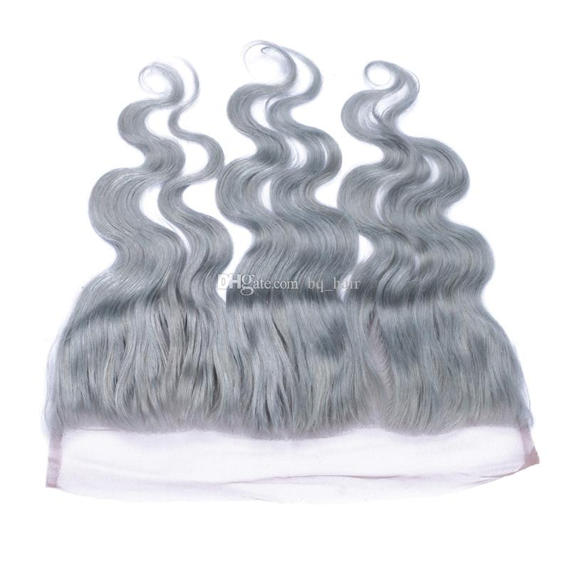 Brazilian Silver Grey Human Hair With Full Frontals Pure Gray Body Wave Virgin Hair 3 Bundles With 13x4 Lace Frontal Closure