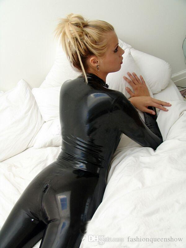 S-XXL Plus Size Unisex Black Faux Leather Sexy Costume Men Women Long Sleeves Jumpsuit Flexible Catwoman Catsuit Nightclub DS Clothings