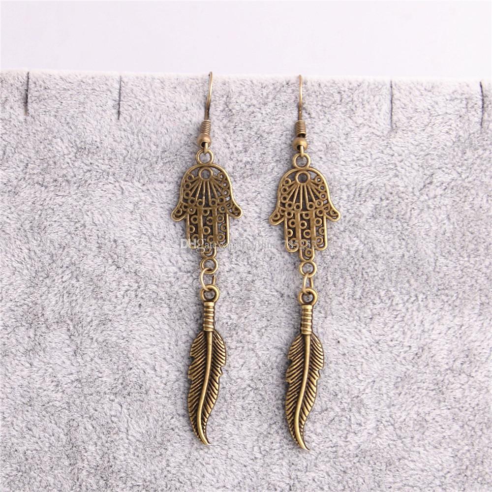 Metal Alloy Zinc Hamsa Hand Connector Feather Pendant Leaf Charm Earing Pendant Diy Jewelry Making C0644