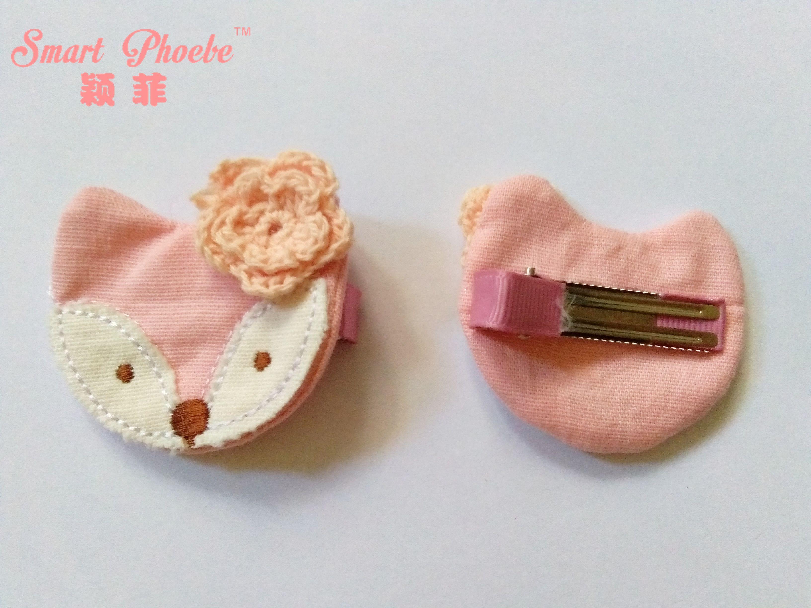 Boutique por atacado Moda Bonito Dos Desenhos Animados Raposa com Floral Meninas Grampos de Cabelo Sólido Animal Do Bebê Meninas Grampos de Cabelo