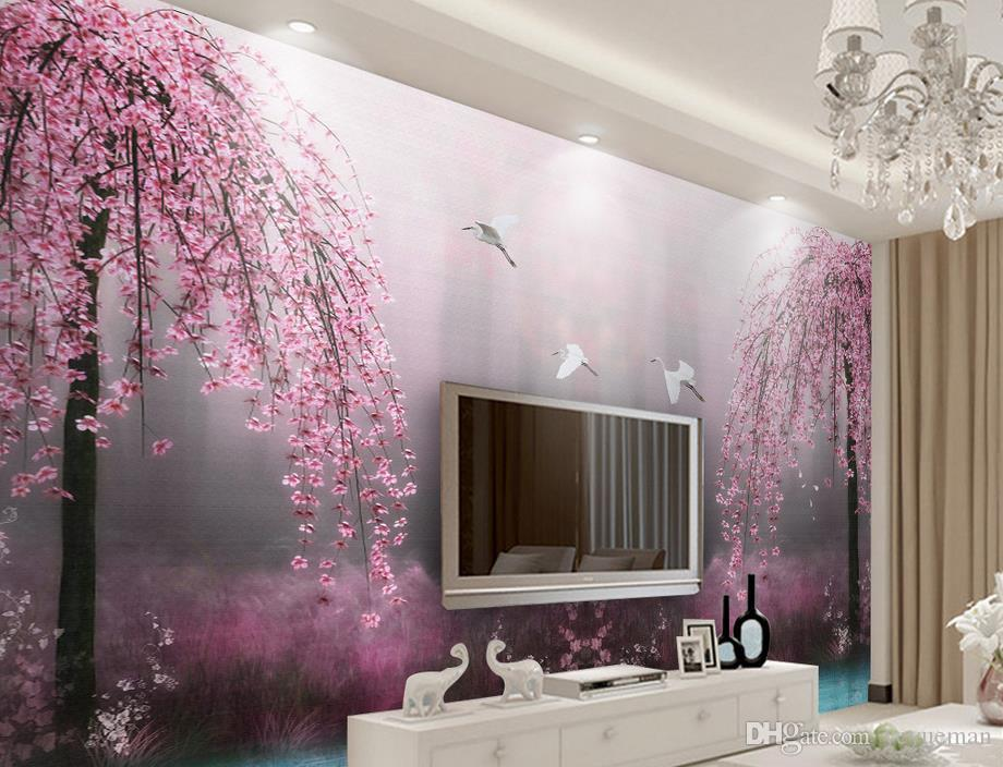 Custom 3d Wallpaper Murals Pink Swan Lake Scenery Stereoscopic Living Room Modern High Definition Widescreen Wallpapers Quality