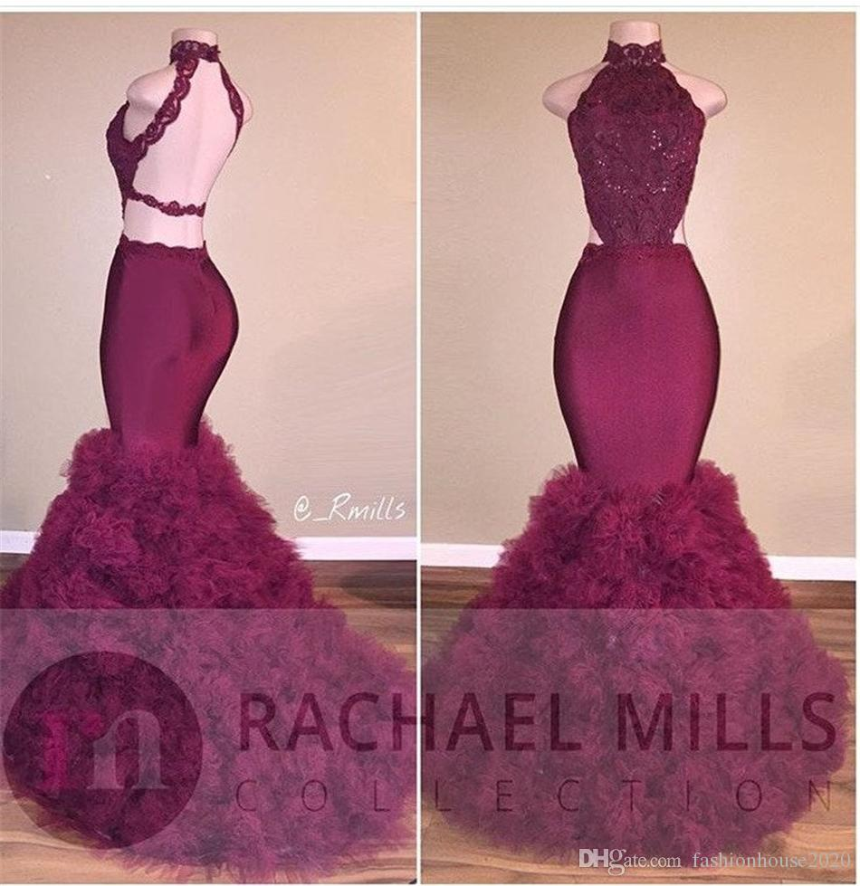 Burgundy Lace African Evening Dresses Mermaid Style Halter
