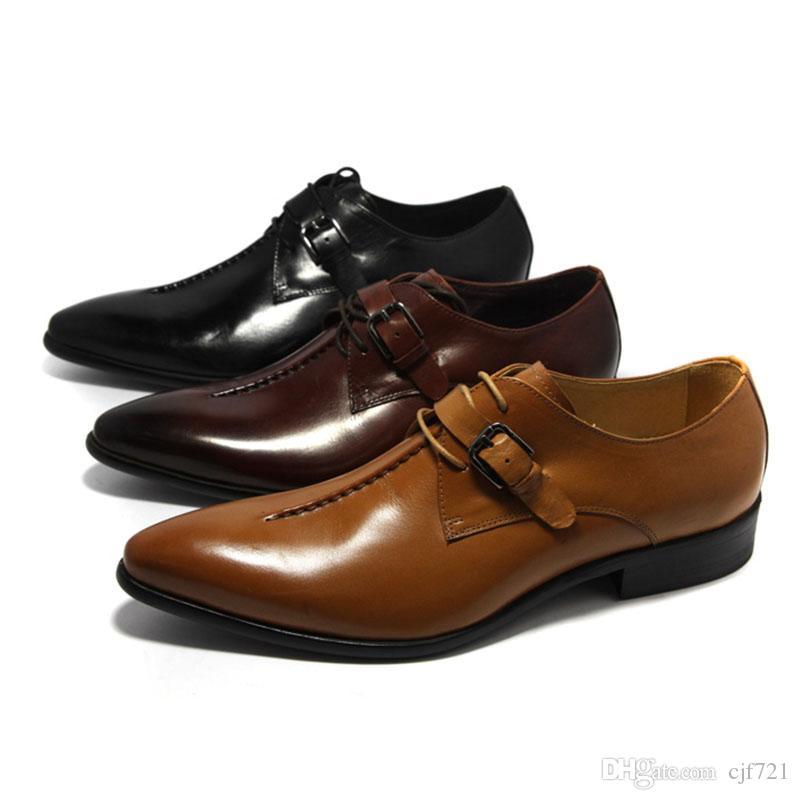 4824663e1358 Acheter Les Meilleurs Hommes Chaussures Habillées Noires Lacer 100% Cuir  Véritable Chaussures D affaires Pointues Pour Le Mariage De Bureau De   108.47 Du ...