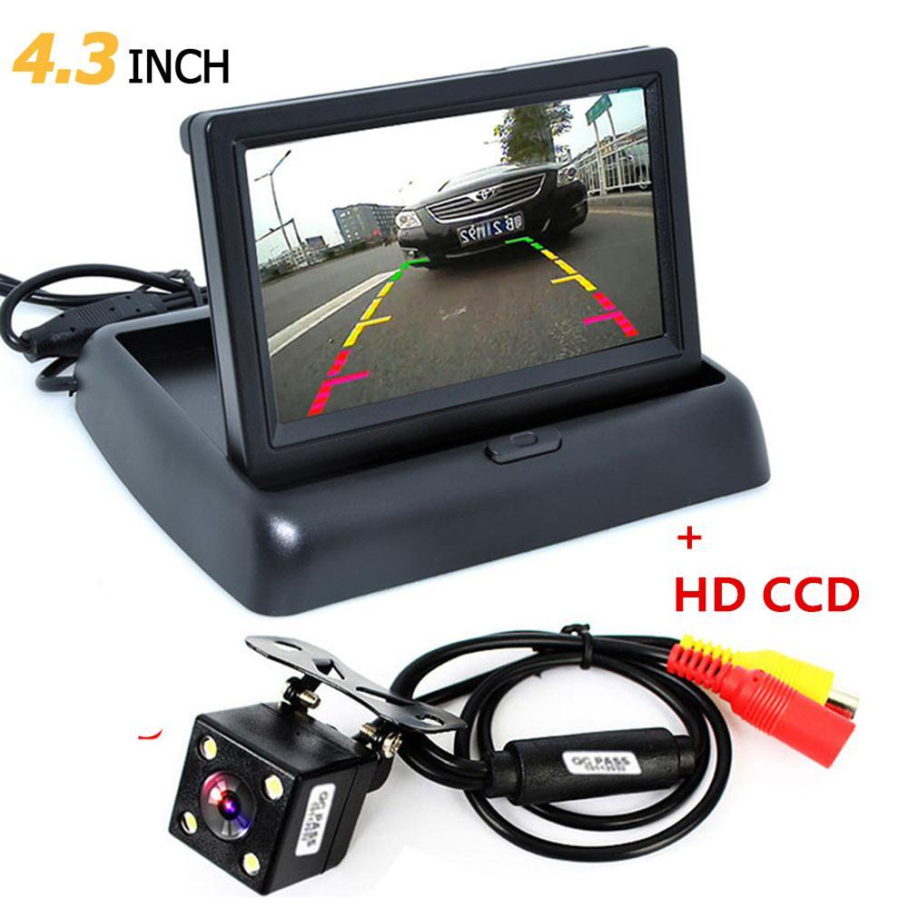 1 jeu pliable 4,3 pouces TFT LCD Mini moniteur de voiture avec vue arrière Caméra de recul pour véhicule système de stationnement renversant CMO_526