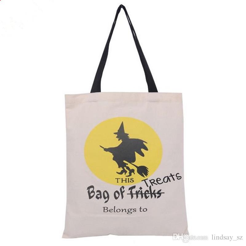 Halloween Gifts Sack Bags Pumpkin Devil Handbags Candy Gift Bags Cartoon Canvas Tote Reuseable Spider Print Shoulder Bag