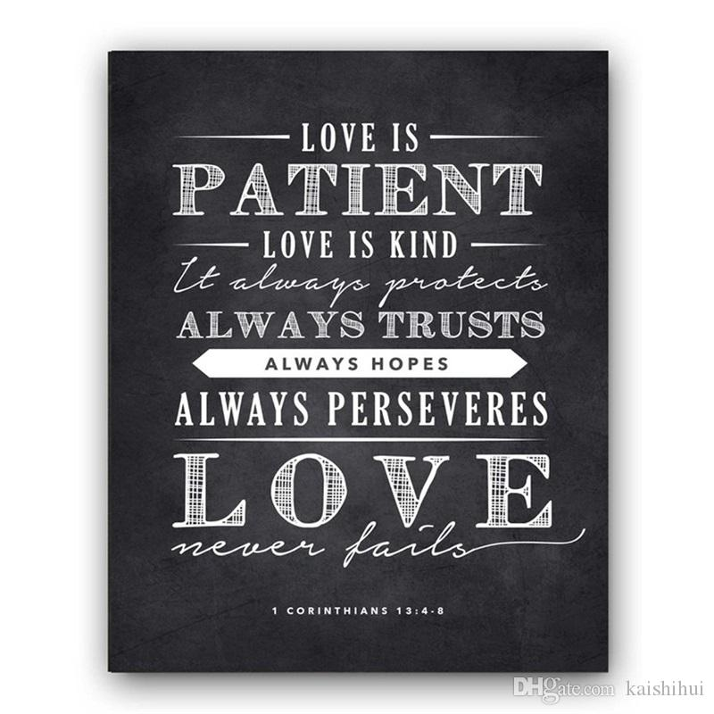 Chalk Sign Love Is Patient Love Is Kind Perfect Wedding Or