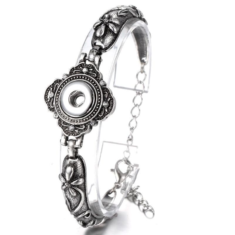 Noosa bouton bracelets bracelets Antique argent gravé cristal fleurs fermoirs magnétiques bricolage ginglures snaps bijoux interchangeables